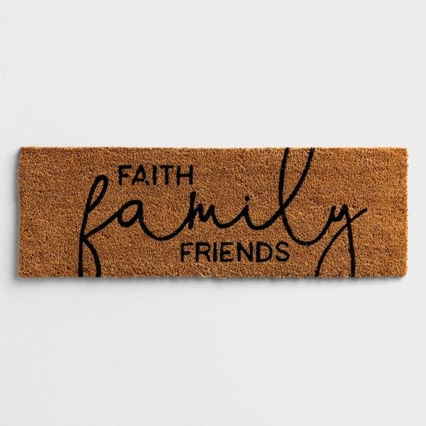 """Faith, Family, Friends - Coir Doormat 30"""" x 10"""""""