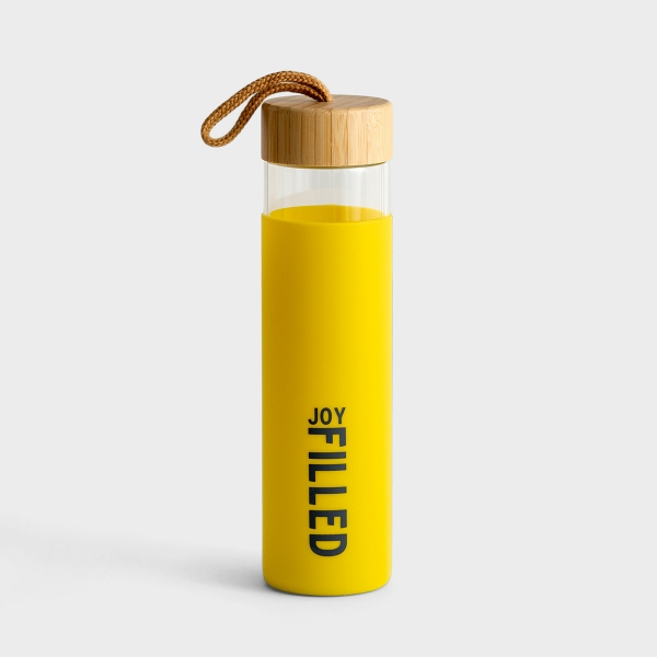 Joy Filled - Glass Water Bottle with Bamboo Lid