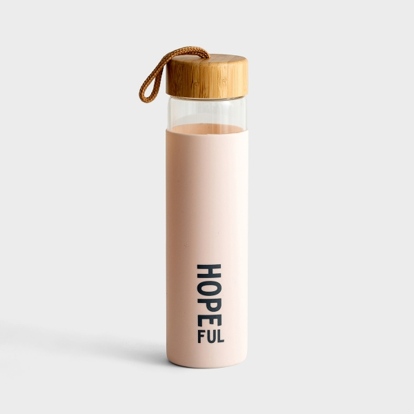 Hopeful - Glass Water Bottle with Bamboo Lid
