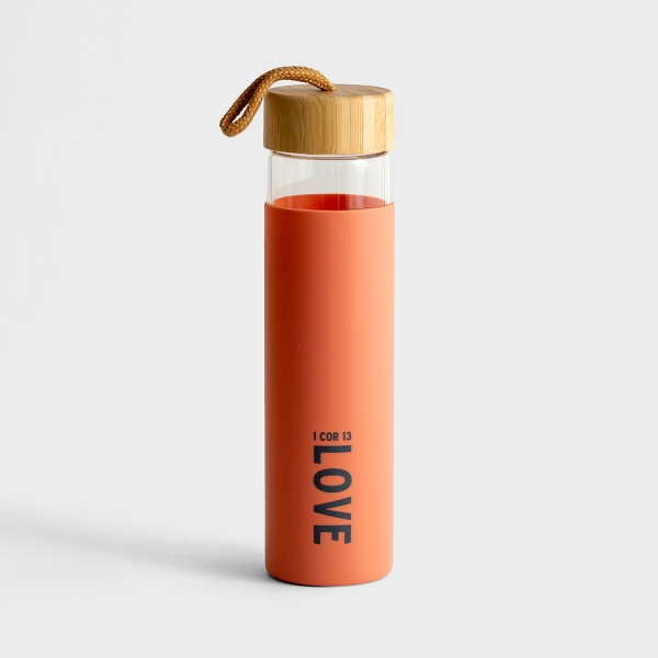 Love - Glass Water Bottle with Bamboo Lid