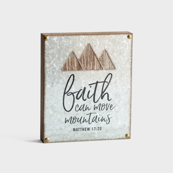 Faith Can Move Mountains - Wood & Laser Cut Metal Plaque