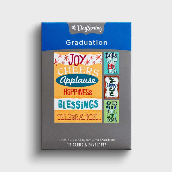 This box of graduation cards is full of festive, fun designs and God's Word that are sure to make a special graduate smile.