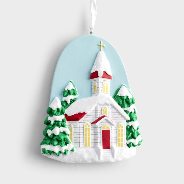 Snowy Church - Christmas Ornament