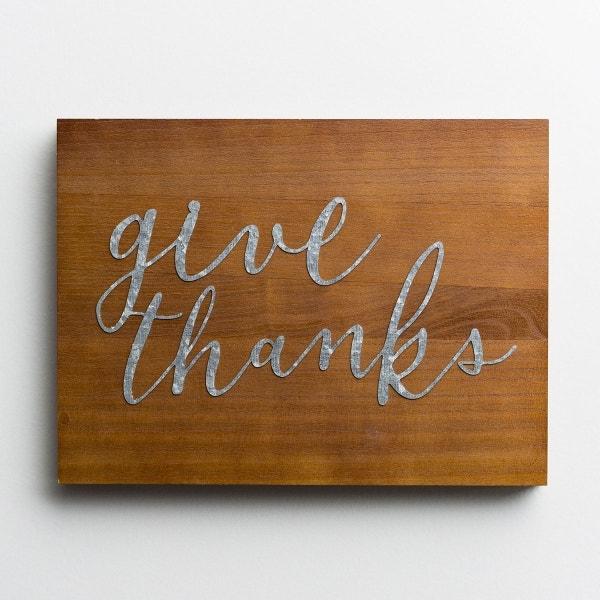 Give Thanks - Wood & Metal Wall Art