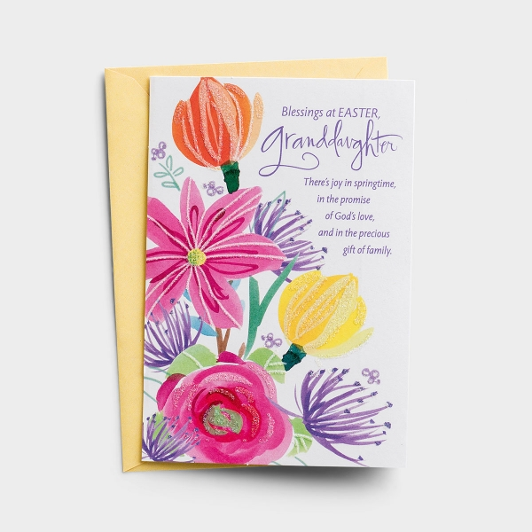 Easter - Granddaughter - Joy in Springtime - 1 Premium Card