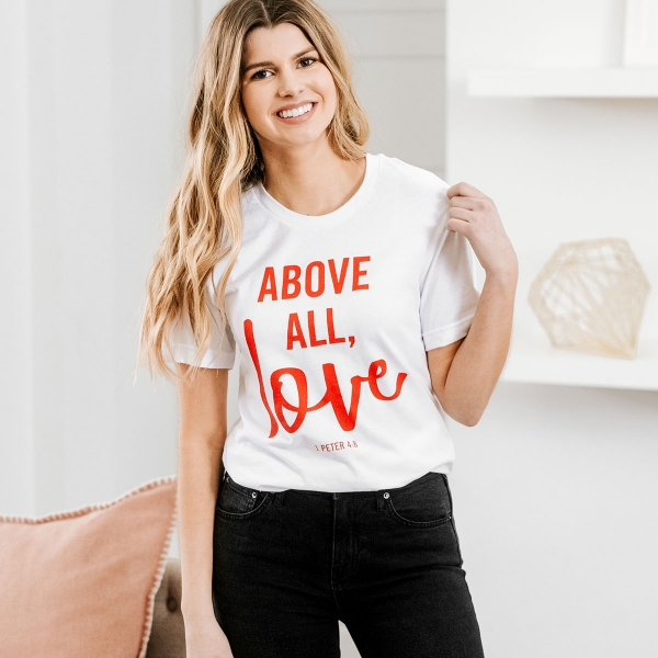 This 'Above All, Love' t-shirt from DaySpring is a perfect way to share your faith. The relaxed fit tee makes a great gift to tell someone special that they are loved and 1 Peter 4:8 is a wonderful reminder to us