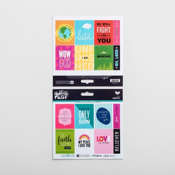 Illustrated Faith - 16-Piece Word Art Stickers