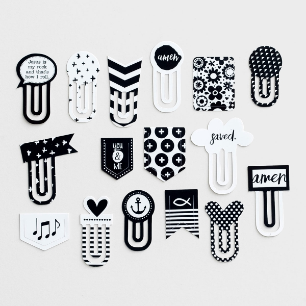 Illustrated Faith - Black and White - 16-Piece Designer Clips