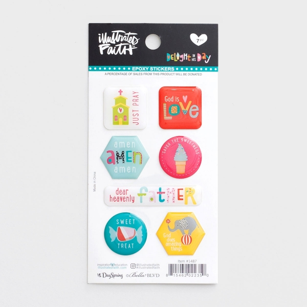 Illustrated Faith - Delight in His Day - 7-Piece Epoxy Stickers