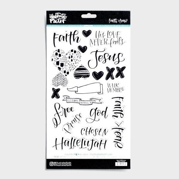 Illustrated Faith - Faith>Fear - 22-Piece Chipboard Icons