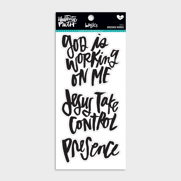 Illustrated Faith - Brushed Words - 15-Piece Clear Sticker Booklet