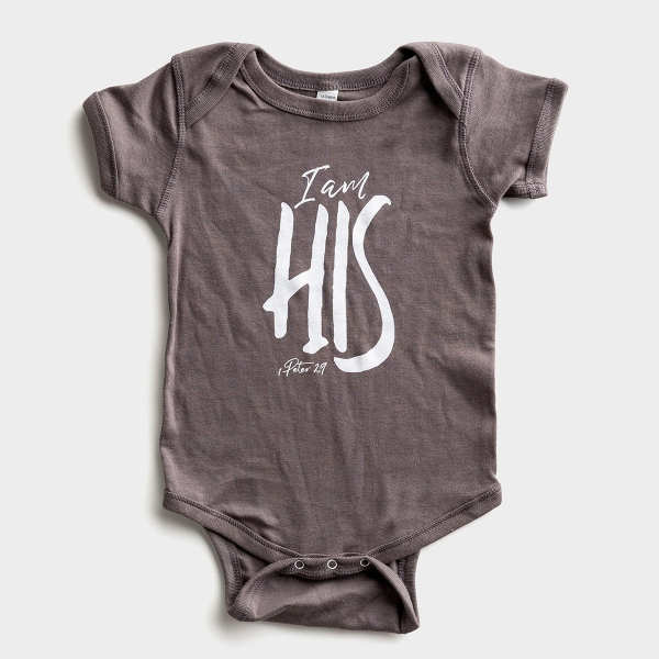 I Am His - Charcoal Grey Bodysuit - 6 Months