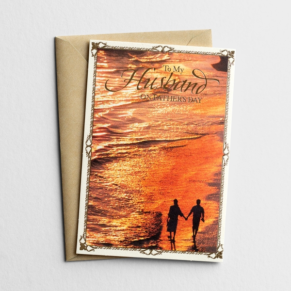 Father's Day - For Husband - A Walk At Sunset - 1 Premium Card