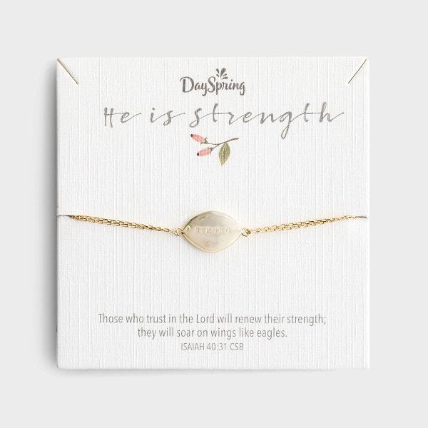 He Is Strength - Gold Small Pendant Bracelet