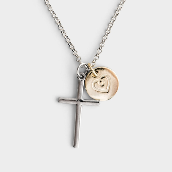 Daughter of the King - Cross Pendant Necklace with Gold Plated Charm