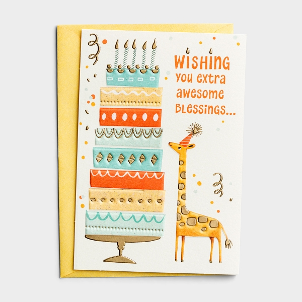 Birthday - Extra Awesome Blessings - 1 Premium Card