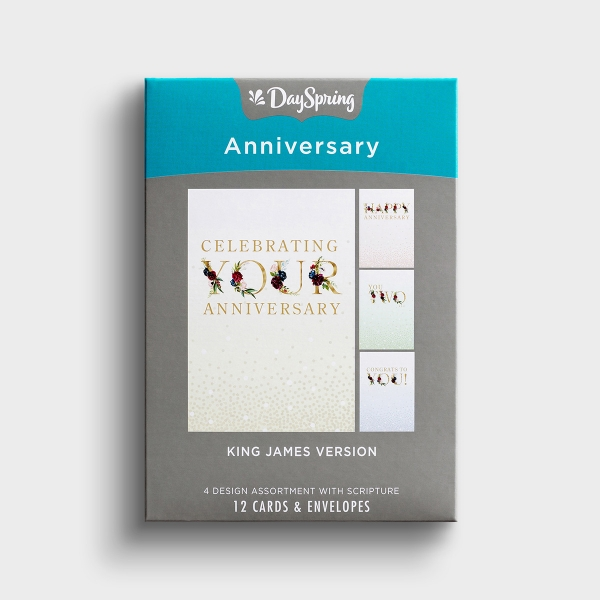 Anniversary - Floral - 12 Boxed Cards, KJV