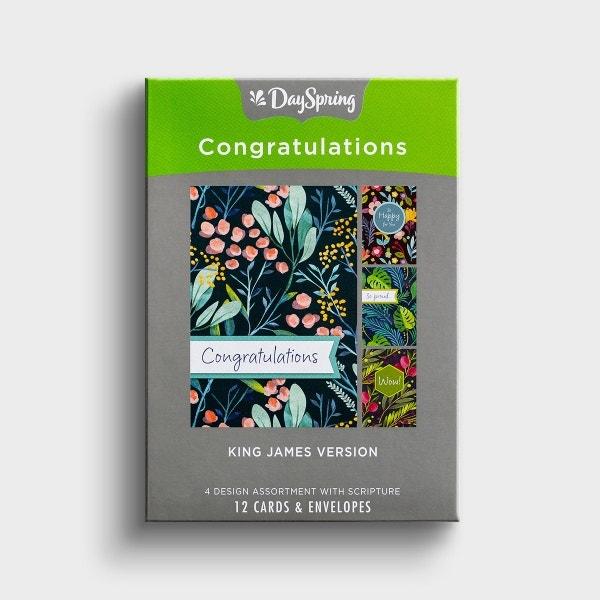 Congratulations - Botanical Blessings - 12 Boxed Cards, KJV