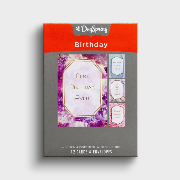 Birthday - Marble & Geodes - 12 Boxed Cards