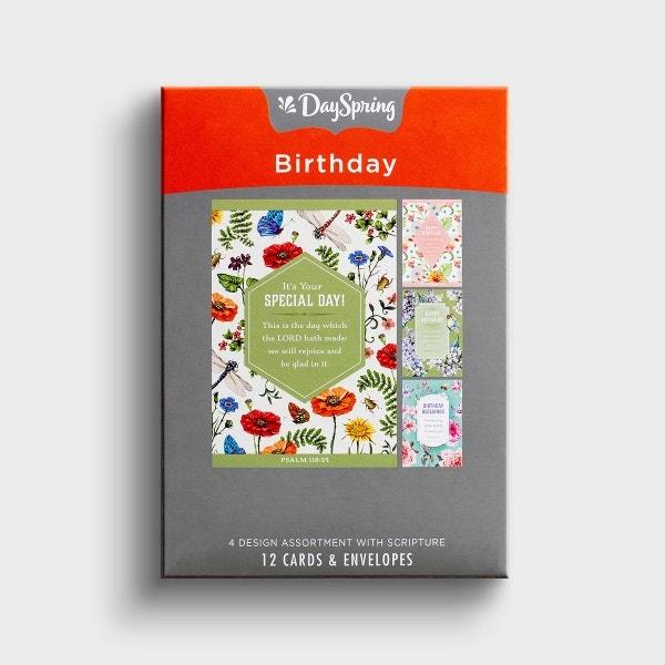 Birthday - Floral - 12 Boxed Cards, KJV