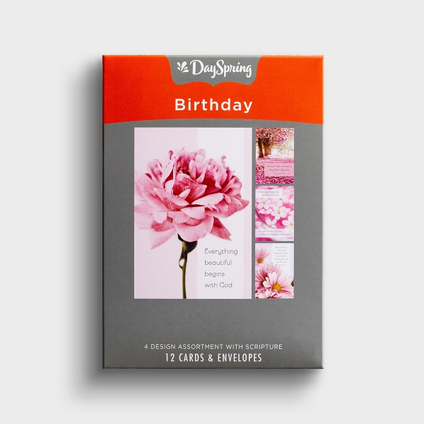 Birthday - Pretty Pinks - 12 Boxed Cards