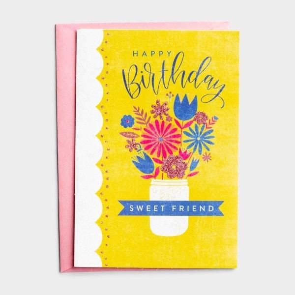 Birthday - Friend - Bouquet - 1 Greeting Card