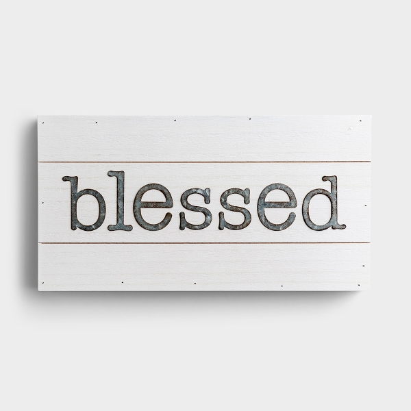 Blessed - White Wood & Metal Wall Art