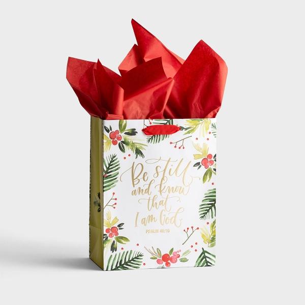Be Still - Medium Christmas Gift Bag with Tissue