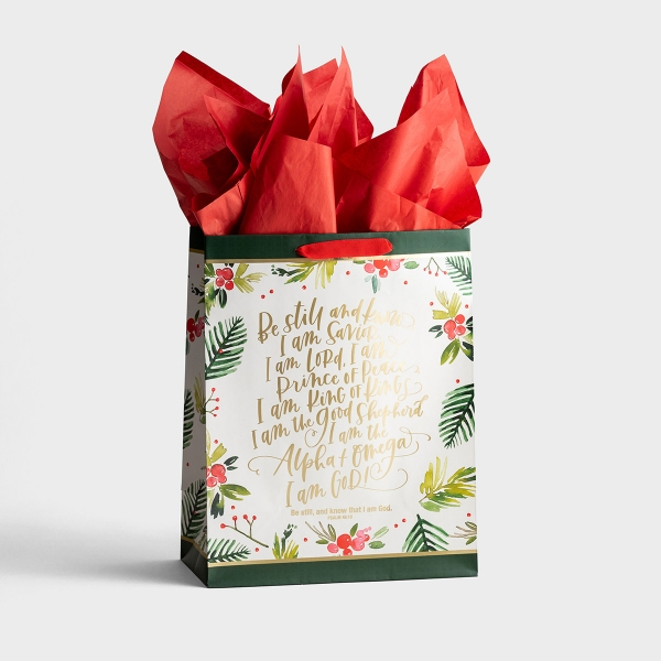 Be Still - Large Christmas Gift Bag with Tissue