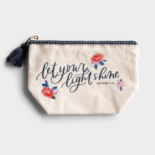 This Studio 71 'Let your light shine' carry all pouch is the perfect gift to remind a friend that God made them to shine. Perfect for keeping makeup, Bible journaling supplies or loose items in your purse!