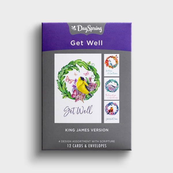 Get Well - For Peace And Recovery - 12 Boxed Cards, KJV