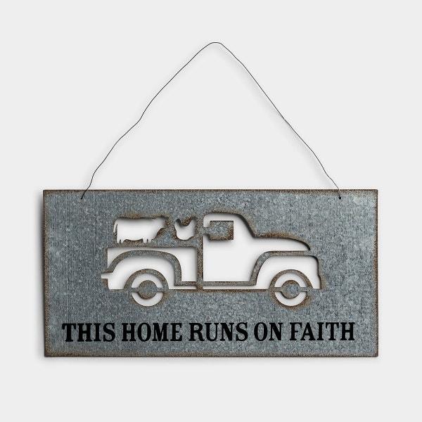 This Home Runs On Faith - Metal Wall Art