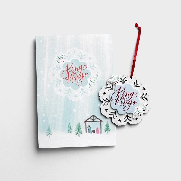 King of Kings - 6 Premium Christmas Boxed Ornament Cards, KJV