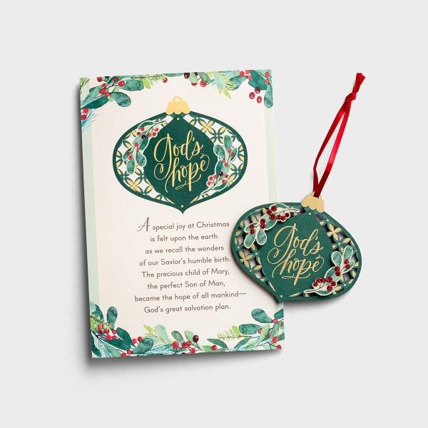 God's Hope - 6 Premium Christmas Boxed Ornament Cards, KJV