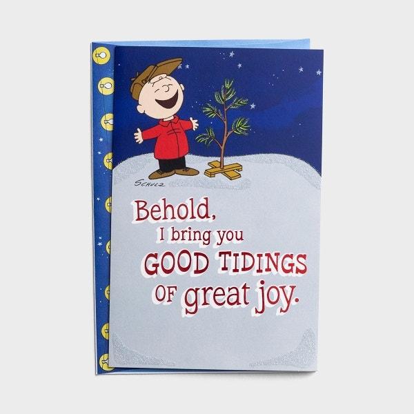 Peanuts - Good Tidings of Great Joy- 18 Christmas Boxed Cards, KJV