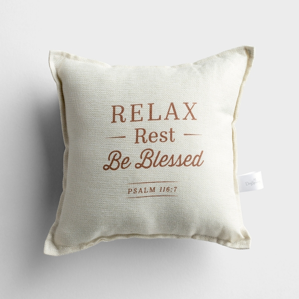 Relax, Rest, Be Blessed - Small Throw Pillow