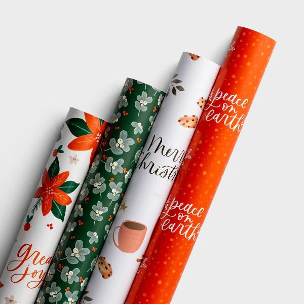 Studio 71 - Festive Florals - Reversible Christmas Wrapping Paper Bundle