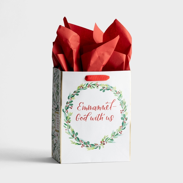 Emmanuel, God With Us - Medium Christmas Gift Bag with Tissue Paper
