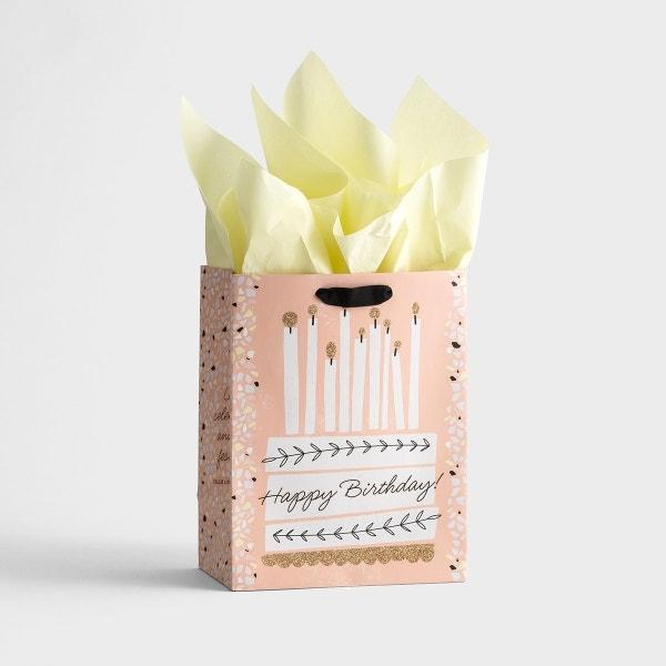 Happy Birthday - Cake - Medium Gift Bag with Tissue