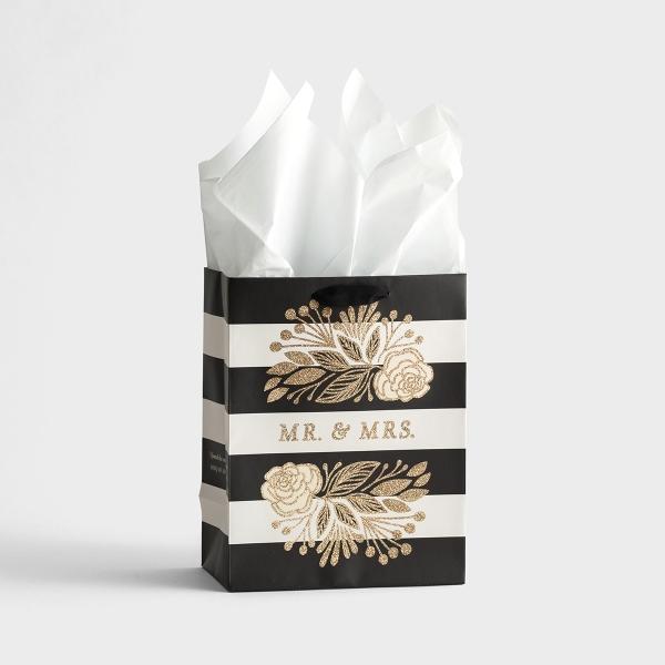 Wedding - Mr. & Mrs. - Medium Gift Bag with Tissue