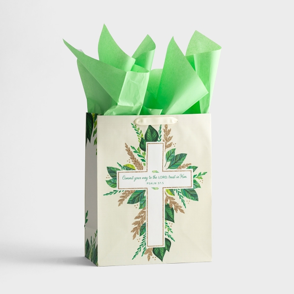 Commit Your Way to the Lord - Large Gift Bag with Tissue