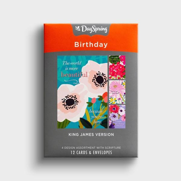 Birthday - Beautiful Birthday Flowers - 12 Boxed Cards, KJV
