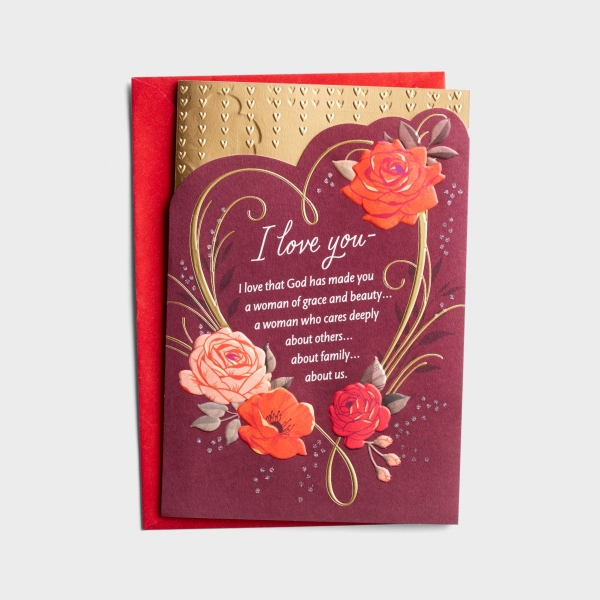 Valentine's Day - Wife - Grace and Beauty - 1 Greeting Card