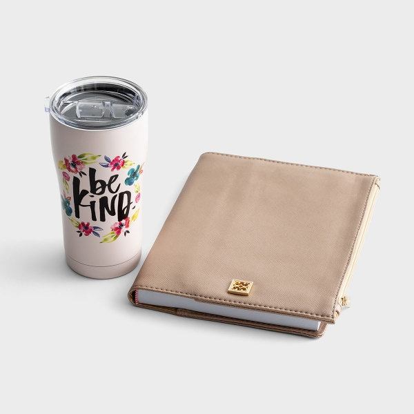 Be Kind Stainless Steel Tumbler & Zip Pouch Journal - Gift Set