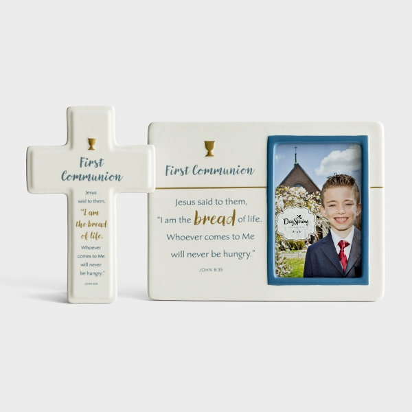 First Communion Picture Frame and Decorative Cross Gift Set
