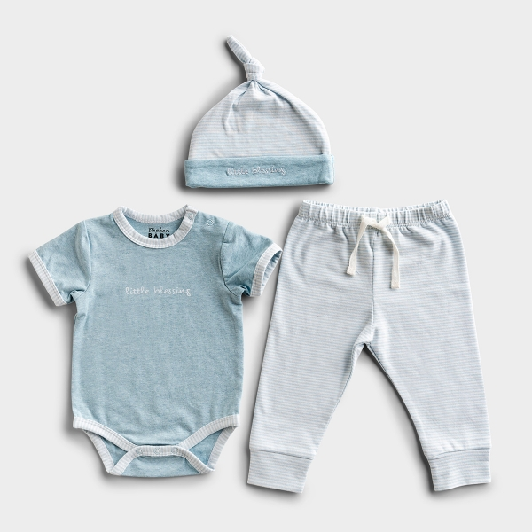 Little Blessing - Blue Baby Outfit
