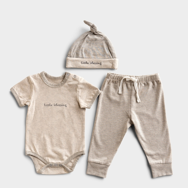 Little Blessing - Cream & Gray Baby Outfit