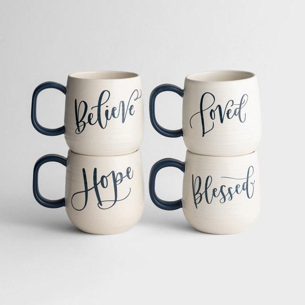 Artisan Ceramic Mugs - Set of 4
