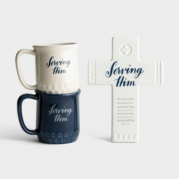 Serving Him - Mugs & Cross Gift Set