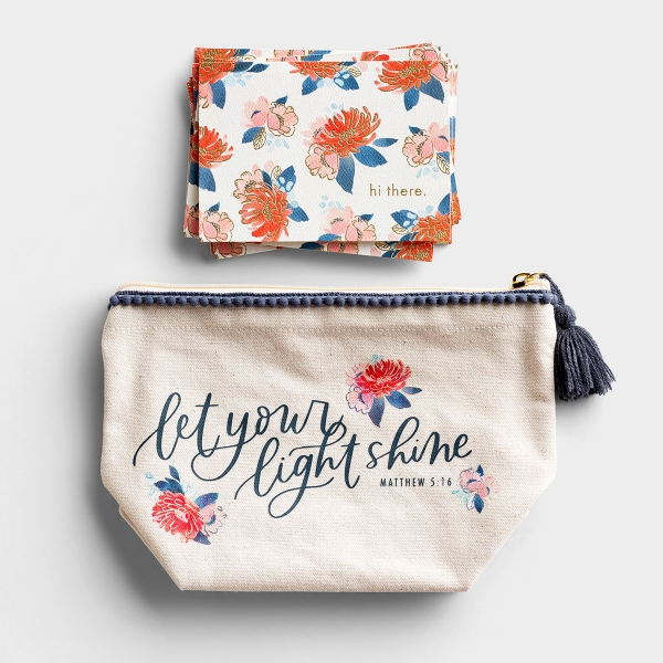 Studio 71 - Floral Canvas Pouch and Note Cards Gift Set